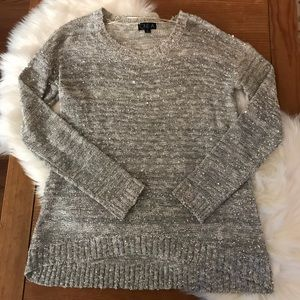 One A Sweaters - One A - Silver Sparkle Sequin Glitter Sweater L